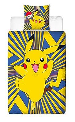 Juego de ropa de cama de Beronage, diseño de Pokémon, reversible, 135 x 200 cm y 80 x 80 cm, 100% algodón, ropa de cama infantil, tamaño estándar alemán, 2 diseños por BERONAGE