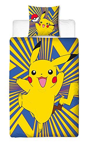 BERONAGE Linon Kinder Wende-Bettwäsche Pokémon Motiv Go Pikatchu Neu & Ovp Renforcé - 135 x 200cm + 80 x 80cm - 100{fe2aa57c47409915977c7dae5b87df52e8a2bbdb99bb760ed78e91a93dd9e767} Baumwolle - Pokemon Kinerbettwäsche - deutsche Standardgröße - 2 Vollmotive