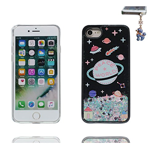 iPhone 7 Plus Custodia, Glitter Glitter Flowing Safe / Case iPhone 7 Plus Copertura / Shock Dust Resistant Shell e tappi antipolvere (gratis) / Cartoon Cover Spazio Pianeti galassiali Nero 8