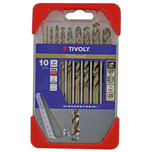 Tivoly A33 - Pack de 10 brocas para metal DIN 338 HSS CO (diámetro de 1, 2, 3, 4, 5, 6, 7, 8, 9, 10 mm)