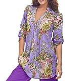 Luckycat Frauen Vintage Blumendruck V-Ausschnitt Tunika Tops Damenmode Plus Size Tops Mode 2018