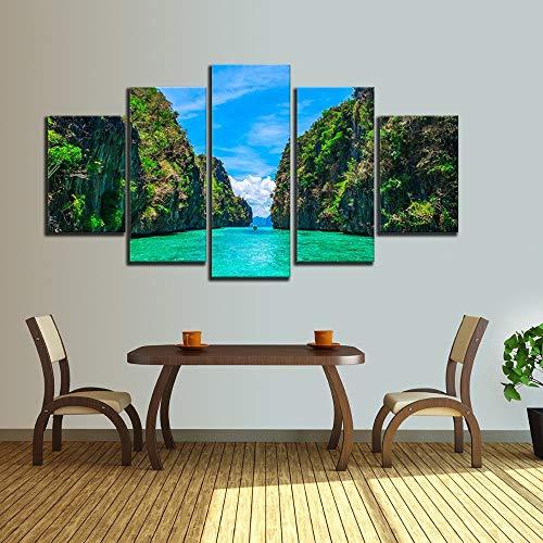 lsweia Holzrahmen/Wandkunst HD Bilder DekorDrucke 5 Stück grüne Hügel und Wasser Blauer Himmel weiße Wolke Landschaft modulare Leinwand Gemälde