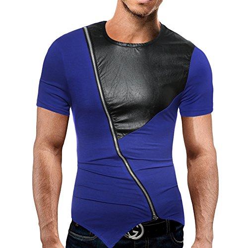 Herren T-Shirt mit Rundhalsausschnitt PU-Leder Stitching Shirt Slim Fit Kurzarm Tee Mit Zipper Raglan Blau