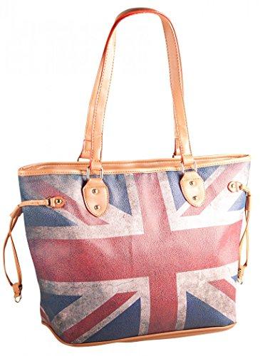 Liberta' Damen Union Jack Shopper Tasche 42x30x15 cm (BxHxT), Farbe:Union Jack (Union Damen Handtasche Jack)