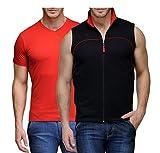 #4: Scott International Men Combo of Sleeveless Jacket and V Neck T-shirt (Pack o...JSLV2_BSHV1_XXXL