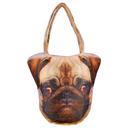 sac de visage animaux imprimées numériquement, polyester, 12 x 12 x 24 pouces, chien tête de face, afb01-11