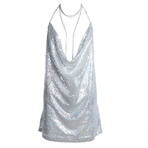 Vestido de mujer Domybest con lentejuelas, espalda abierta y gargantilla de cadena, color plata, tamaño extra-large