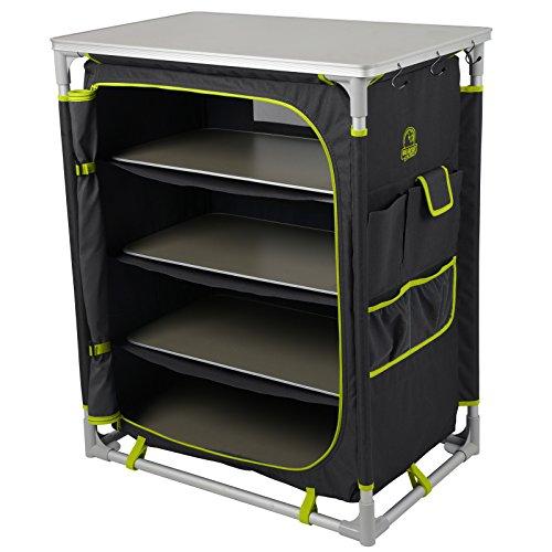 Camping Schrank 70x45 cm aus Aluminium und Polyester mit Seitentaschen • Campingschrank Textil Alu Küche Kleider Faltschrank Stoffschrank