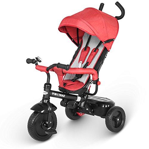 besrey Dreirad 4 in 1 Kinderdreirad Dreirad für Kinder Tricycle mit Schubstange Sonnendach ab 1 Jahre bis 6 Jahre