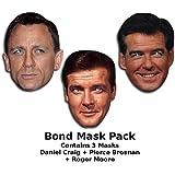 James Bond mask set - Includes Daniel Craig, Roger Moore And Pierce Brosnan
