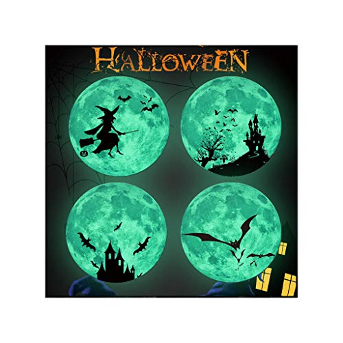 Jungs Für Kreative Kostüm - Yumimi88 Halloween Wandtattoo Leuchtende Fluoreszierender Mond Wandaufkleber Fledermaus Hexe Glow In Dark Decal Halloween Decor (D)