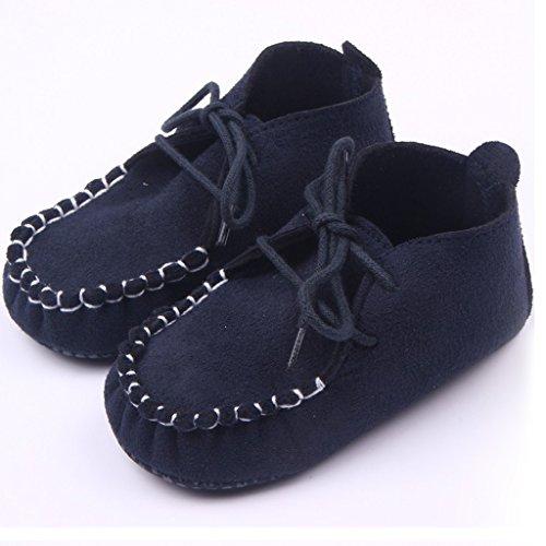 Chaussures en Cuir Nubuck Souple Mocassin Anti-dérapant Boucle de Dentelle Mignon pour Bébé 9-11 mois Bleu Marine