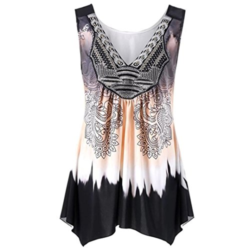 Mounter☀Women Sleeveless Tank Tops Plus Size, Ladies Summer Casual Floral Irregular Vest Shirts Blouse Clearance