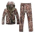 PEIJIAN Jagd-Kleidung Gang Soft Shell Tarnung Tactical Jacket Set Armee wasserdichter Mantel Military Jacke Hosen Airsoft Paintball Leca XXXL