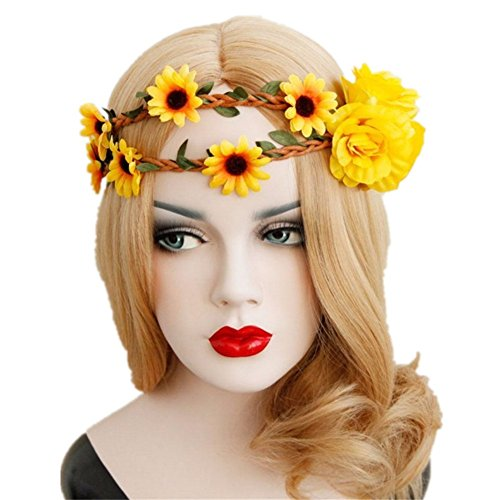 ODETOJOY Sonnenblume Krone, Big Sonnenblume Haarband Sonnenblume Halo, Sunflower Haar Kranz, Sonnenblume Kopfbedeckung, Fall Blume Krone (Halo Haar)