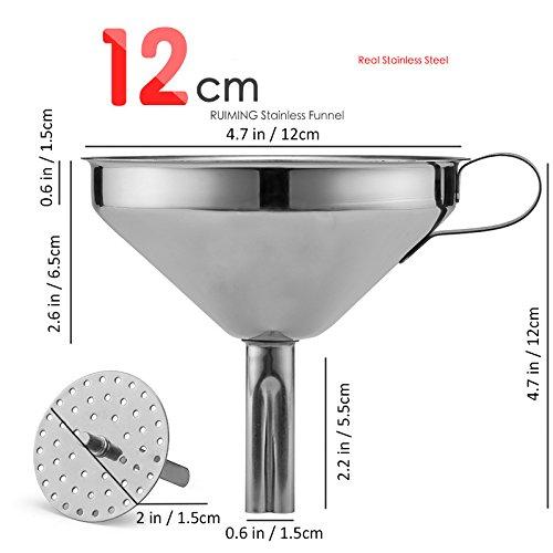 OUNONA 12cm Trichter mit Sieb Edelstahl für die Übertragung von flüssigen Flüssigkeiten Trockene Zutaten Pulver - 2