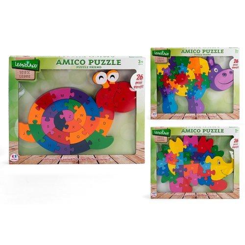 Globo Toys Globo-3688840x 30cm 3Verschiedene legnoland Holz Puzzle mit Zahlen Oder Buchstaben (26) (Holz-buchstaben Zahlen)