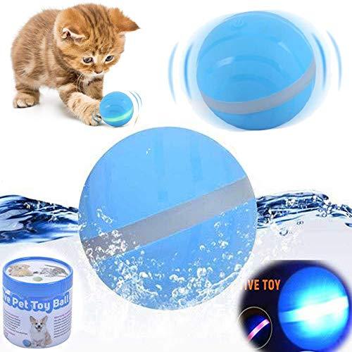 Volwco USB-elektrischer Haustier-Ball, LED-Blinkball für Haustiere, magischer Roller, Spielzeug, interaktives Spielzeug für Welpen, Katzen, Hunde, LED, Blinkender Ball, lustiges Spielzeug blau