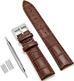 CIVO uhrenarmband Echtes Leder Uhrband Watch Strap Top Kalbsleder 18mm 20mm 22mm Uhr Armband Watch Band für Herren Damen mit Federstege Werkzeug und 8 Pins Bonus (Dunkelbraun, 18 mm)