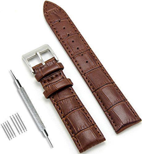 CIVO uhrenarmband Echtes Leder Uhrband Watch Strap Top Kalbsleder 18mm 20mm 22mm Uhr Armband Watch Band für Herren Damen mit Federstege Werkzeug und 8 Pins Bonus (Dunkelbraun, 22 mm)