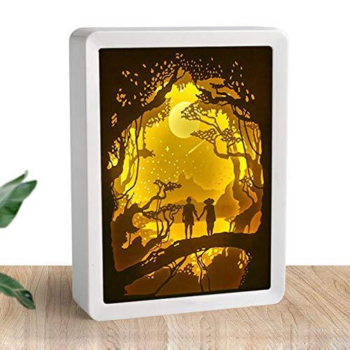 Opfury 3D führte das Papierschnitzen der Lampe, Weihnachten Elch Papercut Leuchtkästen Fernbedienung Nacht Projektor, USB Papier Schnitzerei Massivholz Rahmen Tischlampe Für Home Desktop Decora