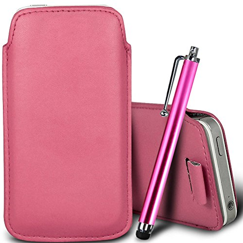 Brun/Brown - Xiaomi Mi 2 Housse deuxième peau et étui de protection en cuir PU de qualité supérieure à cordon avec stylet tactile par Gadget Giant® Rose Baby & Stylus Pen