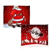 B Blesiya 2er-Set Weihnachten Deko Kuscheldecke Tagesdecke Schlafdecke Sofa Decke Flanelldecke für Sofa Bett - G,130x150cm