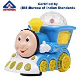 #4: Kurtzy Musical Train Engine Toy with LED 3D Light and Sound for Baby Children Kids Certified by Bureau of Indian Standards Assorted Colors