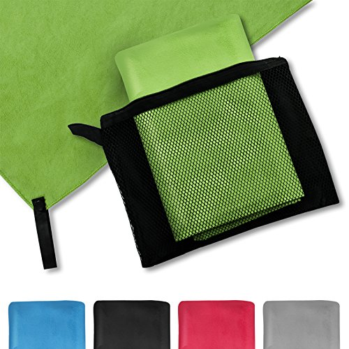 casa pura® Mikrofaser Handtuch Magic Dry | Apfelgrün | 80x40 | schnelltrocknend | platzsparend in Netztasche unterbringbar