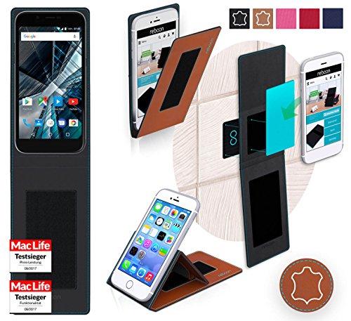 reboon Hülle für Archos 50 Graphite Tasche Cover Case Bumper | Braun Leder | Testsieger
