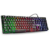 Rii RK100+ Gaming Tastatur USB, 105 Tasten, Regenbogen Beleuchtete Tastatur, 19 Tasten Anti-Ghosting, Wired Keyboard ideal für Gaming und Büro(DE Layout)