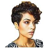 Best Perruques afro-américaine - OverDose, Afro-AméRicains OverDose,Femmes Court Noir Marron FrontCurly Coiffure Review