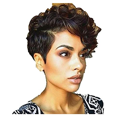OverDose, Afro-AméRicains OverDose,Femmes Court Noir Marron FrontCurly Coiffure SynthéTique Cheveux Perruques Afro-AméRicains