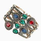 FRLISR Pulsera,Turco Étnico Brazalete para Las Mujeres Oro Antiguo Colorido Cristal Indio Indio Brazalete Pulseras Joyería De La Boda Regalos Verde