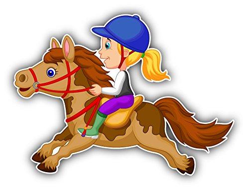 Little Girl On Pony Horse Cartoon Auto-Dekor-Vinylaufkleber 12 X 10 cm (Zombie Little Girl)