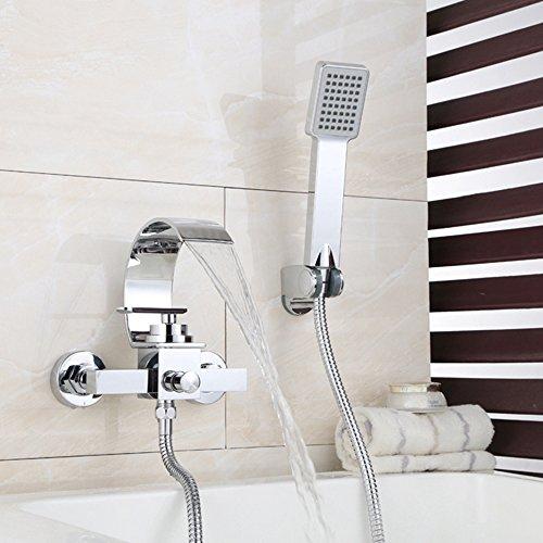 BFTAPS Wasserfall Badewannenarmatur mit Handbrauseset Duschset Duschsystem Wannenarmatur Duscharmatur Einhebelmischer Mischbatterie Doppel Loch Brausearmatur,ChromeFaucet - Wasserfall Badewanne