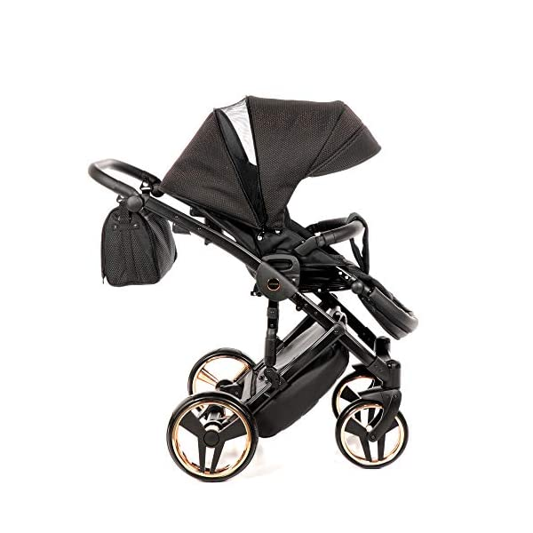Combination Children's Pram Set JUNAMA Diamond Mirror Satin Baby Pram Buggy Pushchair + Accessories (02 Satin Schwarz - Kupfer, 3IN1) JUNAMA stable and lightweight aluminum frame construction with folding function 1-click system for easy assembly and disassembly Practical carrying handle for easy stowage of the folded frame maintenance-free gel wheels swiveling and lockable front wheels Six shock absorbers Central brake height adjustable push handle Automatic protection against folding the frame high-quality materials Push handle made of Ecco leather Upper materials are water-repellent Machining with silver ions and EcoTex technology waterproof and windproof, breathable high tear and abrasion resistance Covers are washable (100% cotton) Climate opening and window on the hood Hood is completely removable and can be used for the baby bath, as well as the sports seat folded up with wheels: 89 x 42 cm Total height of the stroller to hood top: 107 cm Lying height of the tub from the ground: 65 cm Variable height of the push handle: 77-107 cm Weight of the frame incl. Wheels: 10,2 kg External dimensions of baby carrier for newborns: 90 x 62 x 42 cm Weight of the baby bath attachment: 4.7 kg Length / width / height with hood of sport version: 92 cm x 44 cm x 62 cm Weight of sports seat: 5.5 kg 6