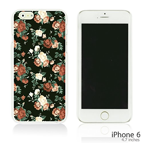 OBiDi - Fabric Pattern Hard Back Case / Housse pour Apple iPhone 6 / 6S (4.7 inch)Smartphone - Pink Boho Pattern Red Roses In Black Background