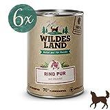 Wildes Land | Nassfutter für Hunde | Rind PUR | 6 x 400 g | mit Distelöl | Getreidefrei & Hypoallergen | Extra hoher Fleischanteil von 70% | Beste Akzeptanz und Verträglichkeit