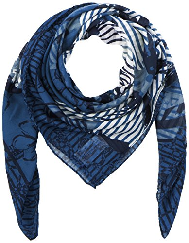 TOM TAILOR Damen Trilby Flower Square Scarf, Blau (Real Navy Blue 6593), One Size Blue Square Schal