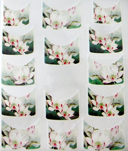 Nail art manucure stickers ongles scrapbooking: 14 décalcomanies motifs fleurs de lotus zen