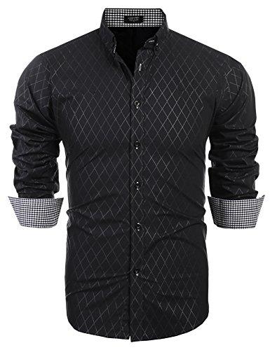 COOFANDY Herren Hemd Slim Fit, Super Modern super Qualität schwarz