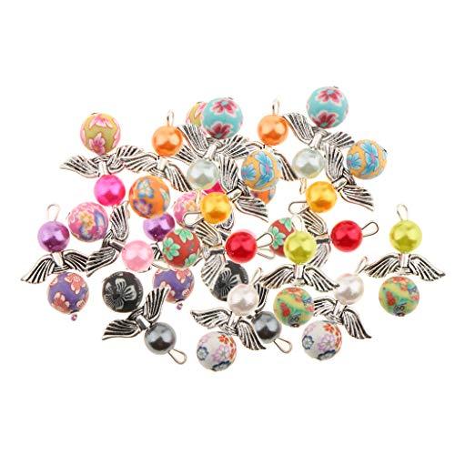 non-brand Baoblaze 40pcs Mischte Engelsflügel Mini Anhänger Charms für Schmuckerstellung Halsband ()