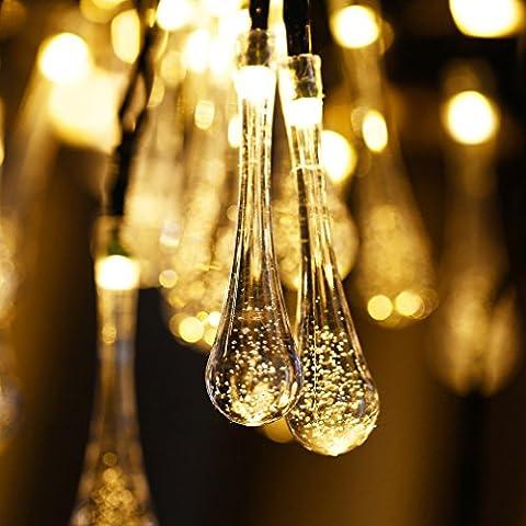 LUCKYKS Solar Lichterkette 6M 30 LED mit Sensor Außen IP44 Regentropfen Dekorativ Beleuchtung für Neujahr, Hochzeit, Party, Fest im Zimmer, Garten, Baum, Terrasse (warm weiß)