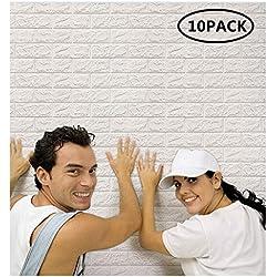 Arthome White Brick 3D Panneaux muraux Peel and Stick Papier peint pour la décoration murale de salon chambre à coucher (10 Pack, blanc 56,9 pieds carrés)