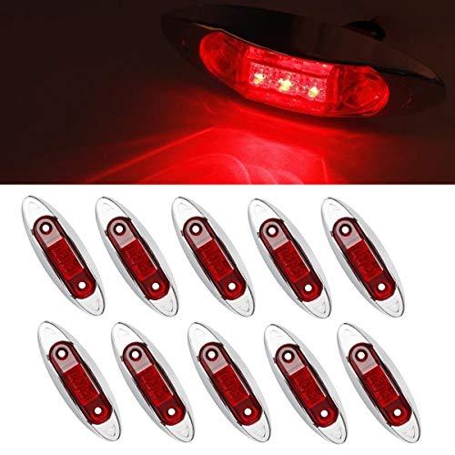 GOFORJUMP 10 STÜCKE Rote wasserdichte Seitenmarkierungsleuchten Begrenzungsleuchte Anhänger LKW Bus Auto 3 LED 12 V 24 V