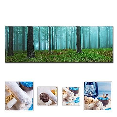 Lumière Eco Art mural sur toile Bundle fascinant du matin The Woods 40x 119,9cm pour décoration intérieure et Charmante de salle de bain Spa Collage Lot de 4encadrée des illustrations pour décoration intérieure