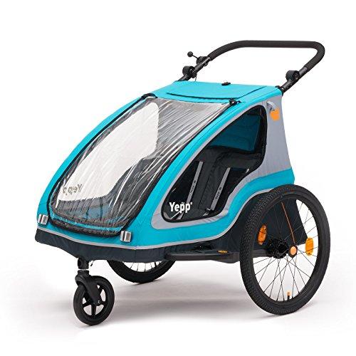 Yepp Duo Kinder-Fahrradanhänger für 1-2 Kinder (inkl. Deichsel, Kupplung, Buggyrad & Flagge) - blau