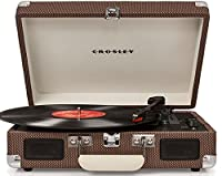 Crosley Cruiser Deluxe Briefcase Style Three Speed Portable Bluetooth Vinyl Turntable with Built-In Stereo Speakers - Tweed Brown
