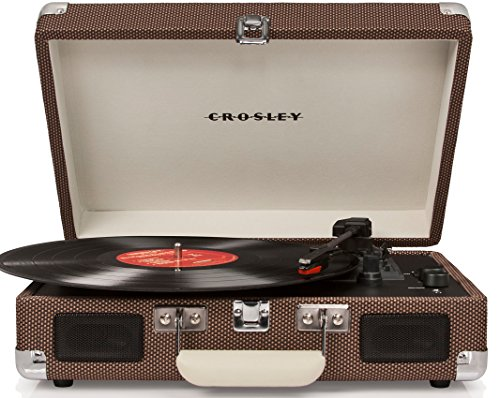 Crosley CR8005DTW  Crosley Cruiser Deluxe Tragbarer Bluetooth Plattenspieler im Retro-Design mit Einstellbarer Geschwindigkeitseinstellung, Kopfhörerbuchse, RCA-Ausgang und Integriertem Lautsprecher - Tweed Tweed